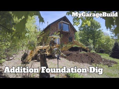 Digging for a mono pour concrete foundation - House Addition Build