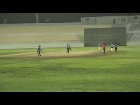 Raja  of Hanan Cricket Club Qatar Bowlling in HANAN Premier League 2016 QATAR