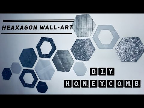 How to Create Hexagon Wall Art-Honeycomb Wall Decor-Easy Recycling Home Decor Idea - cardboard craft