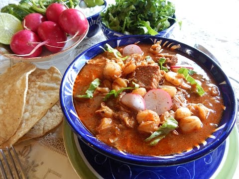 Red Pozole. Pozole Rojo with Pork