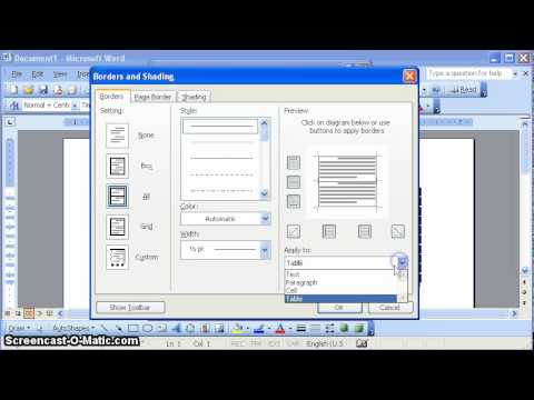 Formatting a Table Border in MS Word