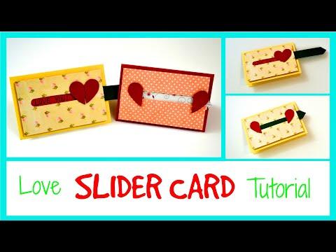 DIY Paper Crafts -  Sliding Heart Greeting Card Ideas - How to 😃 - DIY Birthday Card Tutorial