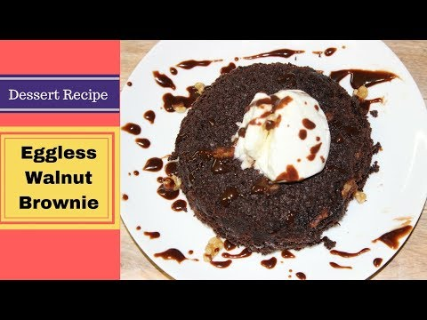 3 Minutes Microwave Eggless Walnut Brownie |  How to Make Brownie in a bowl | Fudgy Brownie Recipe