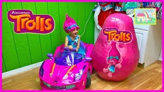 THE BIGGEST SURPRISE EGG Opening Trolls Ride-On Toy Dolls Branch Poppy Trolls Toys Surprises