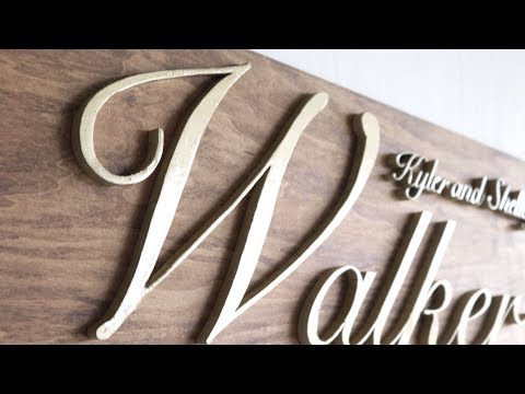DIY Wooden Name Sign   Perfect Wedding Gift   Modern Builds   EP. 66