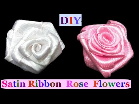 How to Make Rose flowers from Satin Ribbon | D.I.Y. - Rose flowers tutorial | Satin Ribbon Flower