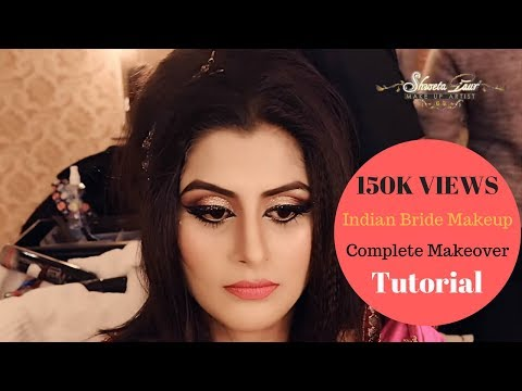 Indian Bride Makeup & Hair   Complete Makeover   Beautiful Bride