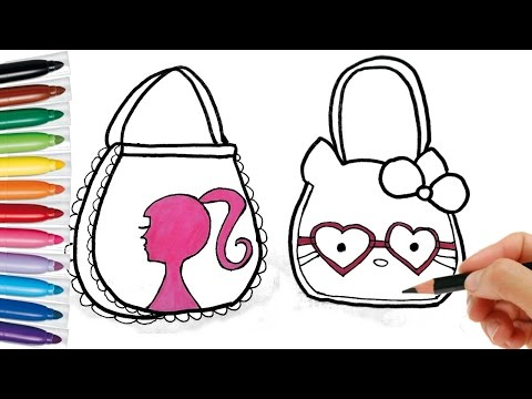 Drawing Bag for Girls. Learning Coloring page for kids colored with markers