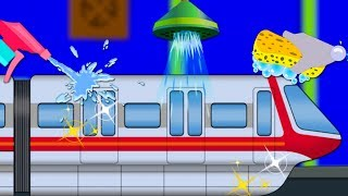 Monorail Car Wash | Vehicles For Children | Cartoon Videos by Kids Channel