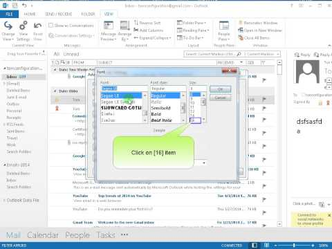 How to change font size of item list on Outlook 2013 2016
