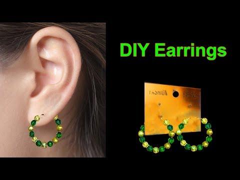 DIY Hoop Earrings | How To Make beaded hoop earrings Simple And Easy | DIY Easy Crafts