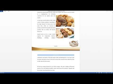 Bakery business plan template preview