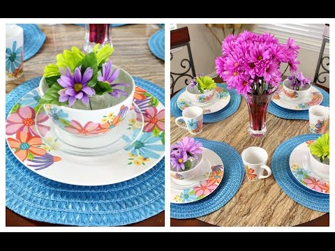 Dollar Tree Table Setting   Decorate with me Breakfast Area