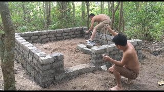 Primitive technology with survival skills Wilderness build house Roman part 2
