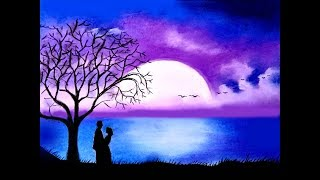 10 05 How To Draw Scenery Of Moonlit Night With Romantic Love Step