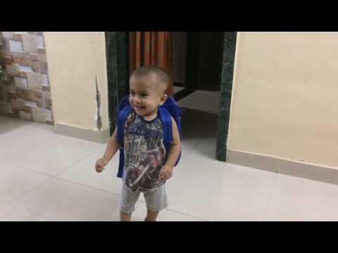 Twin babies having fun with school bag Judwaa 2