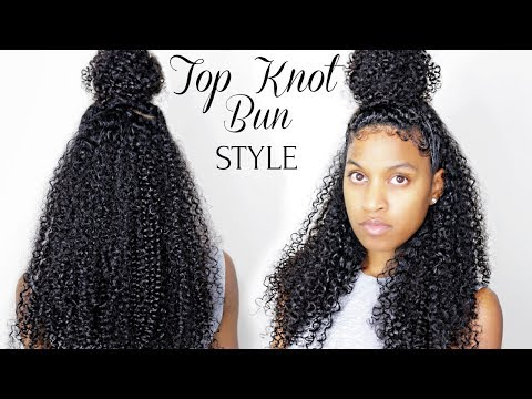 Curly Bun Protective Style Tutorial on Natural Hair (long or short)|Myfirstwig