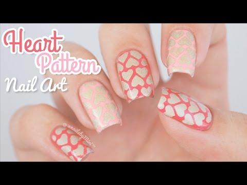 Heart Pattern Nail Art    using
