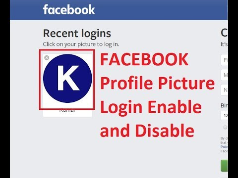 Facebook Profile picture login enable and disable simple steps
