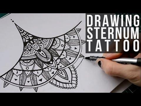 Drawing Commissioned Sternum Tattoo