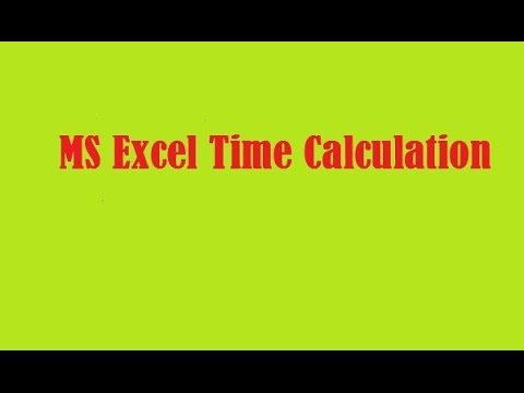 Time calculation in MS Excel