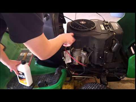 john deere L130 maintenance. oil,oil filter,air filter, fuel filter,and spark plug change