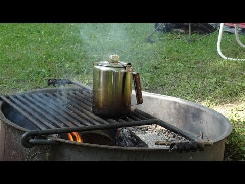 Enjoying time around the camp fire brewing coffee with percolator, doesn't get better!