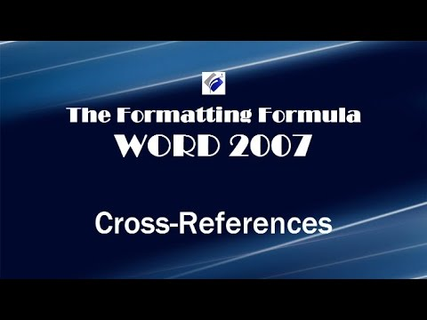 Word 2007 Cross References