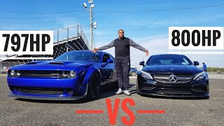 Dodge Hellcat Redeye Widebody vs Mercedes C63s AMG with Upgraded TURBOs