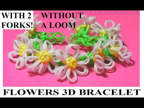HOW TO MAKE FLOWERS 3D BRACELET WITH 2 FORKS. WITHOUT RAINBOW LOOM