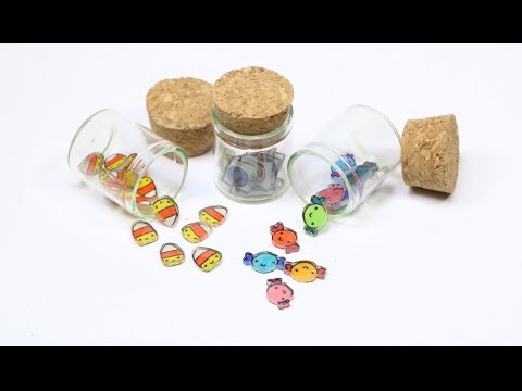How to DIY Miniature Candy Jar Shrink Plastic Tutorial