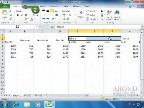 Using Excel 2010 - Center Text Across Multiple Columns