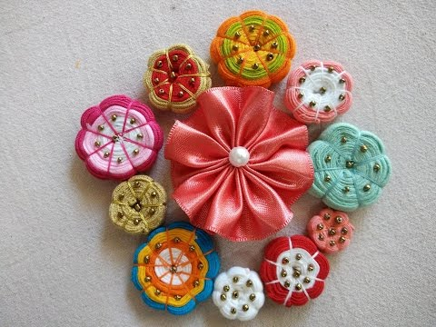 Handmade Fabric Buttons And Handmade Flowers (Handcrafted)