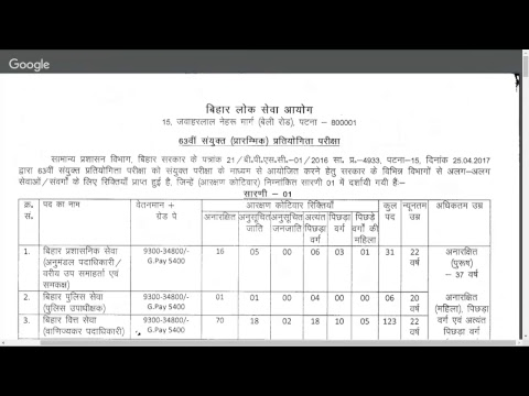 BPSC 63rd Recruitment Notification Bihar Civil Services Vacancy