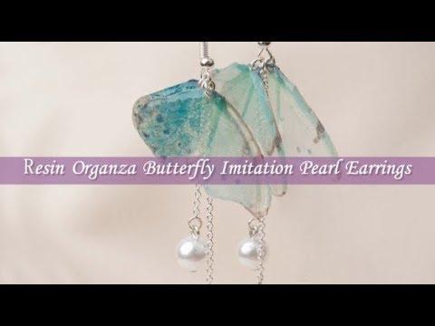 DoreenBeads Jewelry Making Tutorial - How to DIY Resin Organza Butterfly Pearl Earrings.