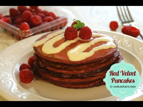 Easy Red Velvet Pancakes with Cream Cheese Drizzle