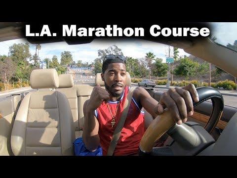 Driving L.A Marathon Course: Dodger Stadium to Santa Monica!