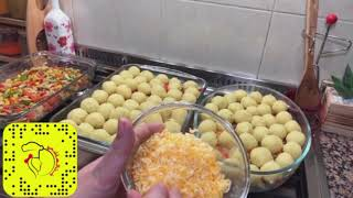 كرات البطاط مع الدجاج والكريمه بطريقة بنت الهاشمي