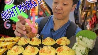 Korean NIGHT MARKET Food Tour in Seoul South Korea!
