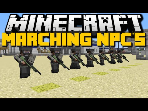 Minecraft: CUSTOM NPC MOD (How To Make NPCs March in Military Formation) Mod Showcase