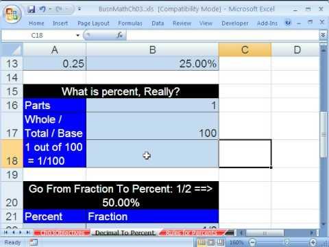 Excel Busn Math 22: Convert Decimals & Fractions To Percent