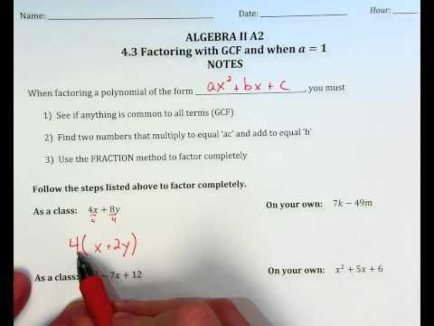 Factoring Quadratics when a=1, ex. 1