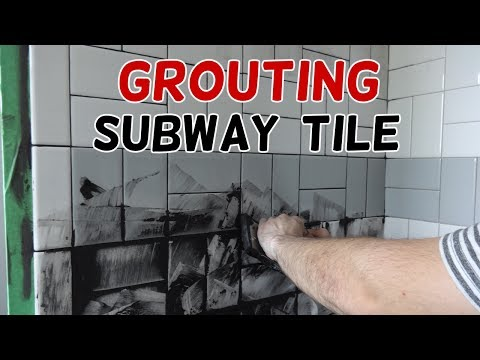 Grouting Our Basketweave Subway Tile!