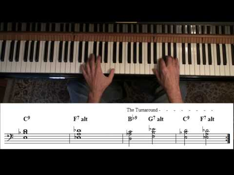 Blues in B flat - jazz style for piano using rootless voicings