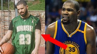 Drake Goes Next Level Bandwagon w/ Kevin Durant & Steph Curry Tattoos While Wearing a LeBron Jersey