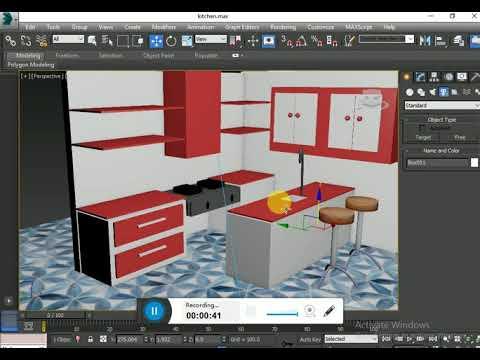 3DS max kitchen interior designing