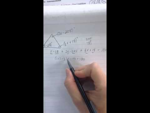 Finding unknown interior angles Part 2