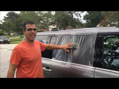 Broken Car Window Repair - Temporary fix