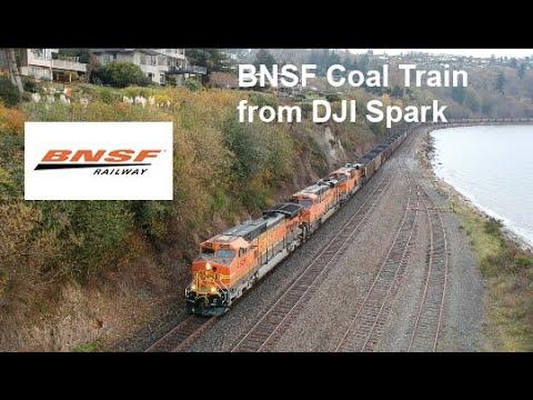 BNSF Coal Train: Drone Train Spotting Seattle, WA   Richmond Beach