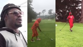 Marshawn Lynch Proves His Golf Swing Is Better Than Happy Gilmore